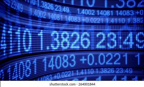 3D. Finance, Stock Market, Stock Ticker Board.