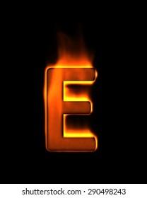 """3d fire alphabet letter  - """"E"""""""