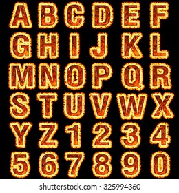 3d Fire font collection on black background