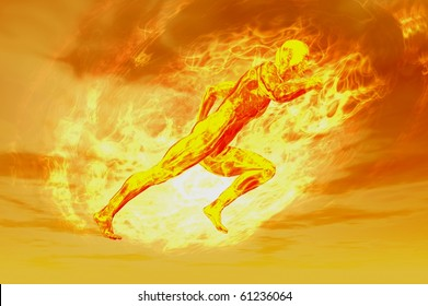 3d fire man concept render image with plasma energy ball
