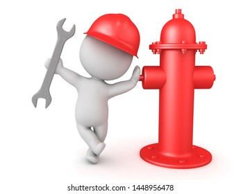 3D Fireman holding wrench and leaning on fire hydrant. 3D Rendering isolated on white.