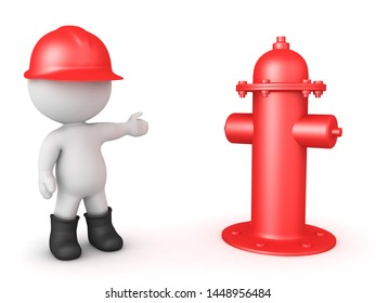 3D Fireman showing fire hydrant. 3D Rendering isolated on white.