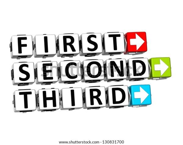 3d First Second Third Button Click Stock Illustration 130831700