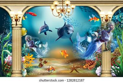 3D fish aquarium design
