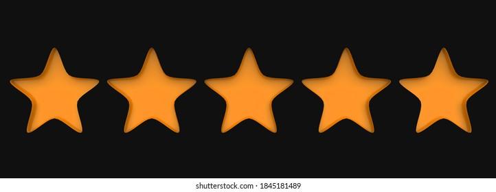 3d five orange star on color background. Render and illustration of golden star for premium