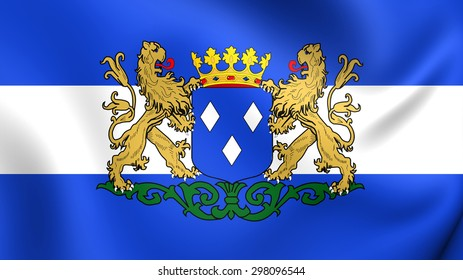 3D Flag of the Almelo, Netherlands. Close Up.