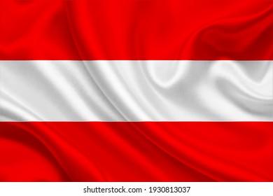 3D-Flagge Österreichs auf gewaschenem Gewebe.