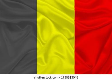 3D Flag of Belgium on wrinkled fabric.