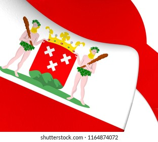 3D Flag of Bergen op Zoom (North Brabant), Netherlands. 3D Illustration.