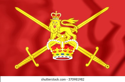 3D Flag of British Army. Close Up.