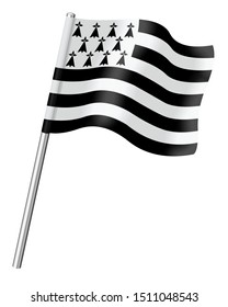 3D Flag of Brittany isolated on a white background