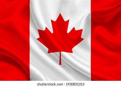 3D Flag of Canada on wrinkled fabric.