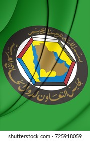 3D Flag of Cooperation Council for the Arab States of the Gulf. 3D Illustration.