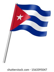 3D Flag of Cuba isolated on a white background