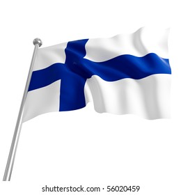 3d flag of finland on white background