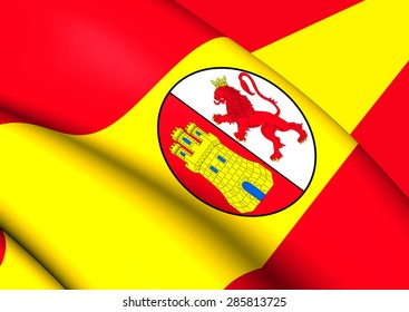 3D Flag of the First Spanish Republic. Close Up.