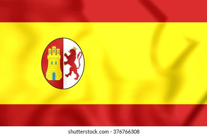 3D Flag of First Spanish Republic. Close Up.