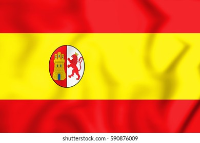 3D Flag of First Spanish Republic. 3D Illustration.