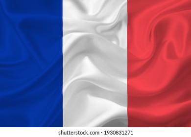 3D Flag of France on wrinkled fabric.