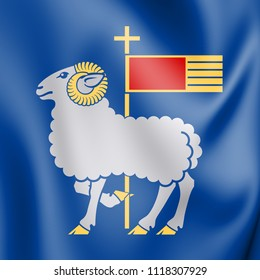 3D Flag of Gotland County, Sweden. 3D Illustration.