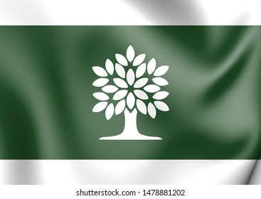 3D Flag of London (Ontario province), Canada. 3D Illustration.