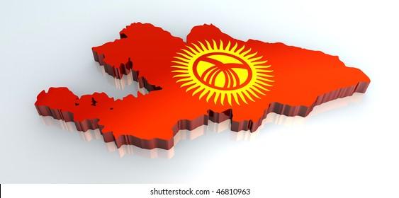 3d flag map of kyrgyzstan