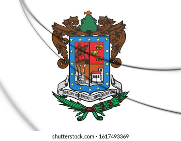 3D Flag of Michoacan state, Mexico. 3D Illustration.