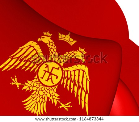 3 d flag palaiologos dynasty byzantine eagle stock illustration