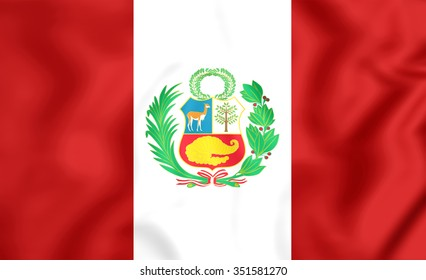 3D Flag of the Peru. Close Up.