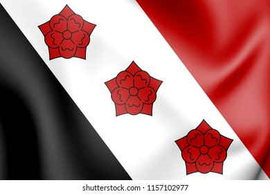 3D Flag of Roosendaal (North Brabant), Netherlands. 3D Illustration.