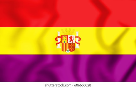 3D Flag of the Second Spanish Republic. 3D Illustration.