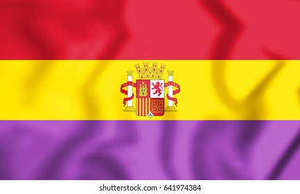 3D Flag of Second Spanish Republic. 3D Illustration.