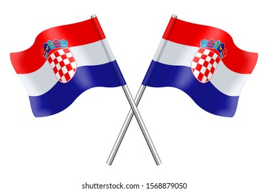 3D Flags of Croatia isolated on a white background