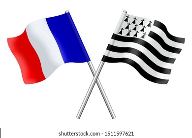 3D Flags of France and Brittany isolated on a white background