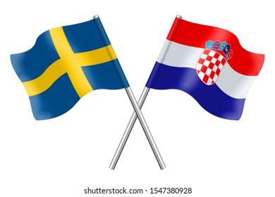 3D Flags of Sweden and Croatia isolated on a white background