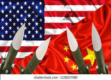 3d flags of USA and China waving in the wind, concept illustration of armed conflict with ICBM rockets, nuclear weapons, arsenals