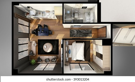 3D floor plan, house plan from top