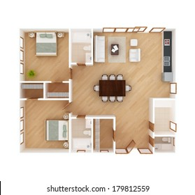 3D floor plan top view of a house isolated on white background. 2 Bedroom, 2 1/2 Bath. May be used for a graphic art, design or architectural illustration.