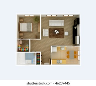 3D floor plan top view. Apartment interior aerial. Kitchen, Dining, Living Room, Bedroom, Walk in Closet, Hall, Bathroom. May be used for a graphic art, design or architectural illustration.