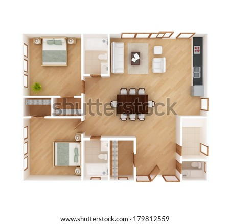 3 D Floor Plan Top View House Stock Illustration 179812559