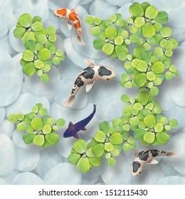 3D floor tiles design, beautiful koi fish and leaf top view in water and stone bathroom random floor tiles.