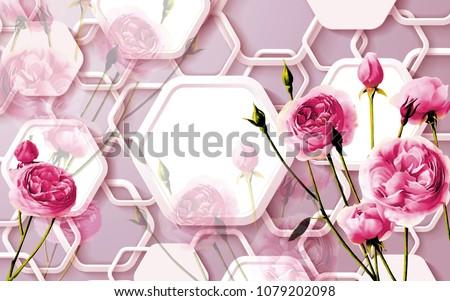 3 D Floral Abstract Wallpaper Walls 3 D Illustration De Stock De