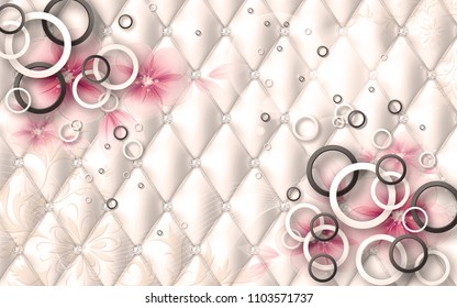 3d floral and geometrical photomural design for wallpapers with upholstry