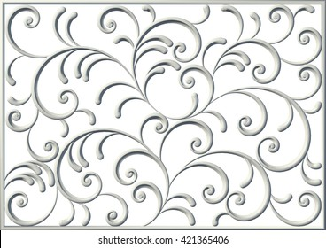 3d floral square swirl ornament from decorative scrolls and curl