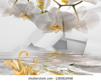 3d floral wall paper and gold design