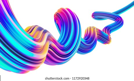 3D flow liquid shape in holographic neon colors. Design element for Christmas posters, banners, backgrounds. 3D rendering.