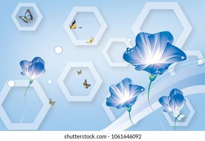 Papel de parede de abstração de flores 3d para paredes.