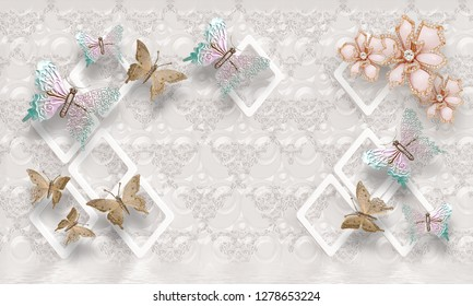 3d flower , butterflysky and flower home brick wall background