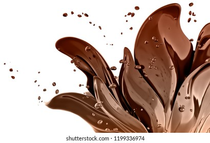 3d flower chocolate abstract background isolated rendering