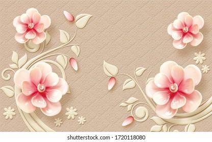 3d flower rendering pattern wallpaper